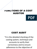 Functions of a Cost Auditor . Mythhen (Cma)