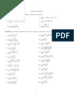 Lista de exercícios 1 de cálculo I
