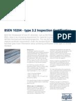 BSEN 10204 - Type 3.2 Inspection Certification Factsheet
