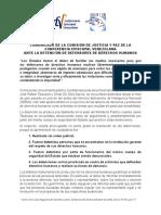 Comunicado Comision DDHH Detenciones Defensores de DDH