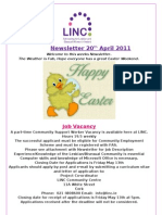 Newsletter 20th April 2011