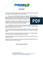 Nota do diretório paulista do PSDB sobre filiações