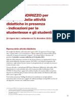 LINEE DI INDIRIZZO per la ripresa delle attività didattiche in presenza 2021