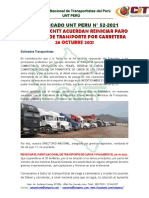 COMUNICADO UNT PERU N°52-2021 UNT PERU, ACUERDA REINICIAR PARO NACIONAL DE TRANSPORTE X CARRETERA