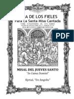 GUÍA DE LOS FIELES PARA LA SANTA MISA CANTADA DEL JUEVES SANTOS.  Misa In Coena Domini
