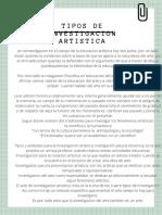 TIPOS DE INVESTIGACION ARTISTICA