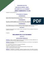ACUERDO GUBERNATIVO 176-2001 REGLAMENTO DE LA LEY DE MINERIA