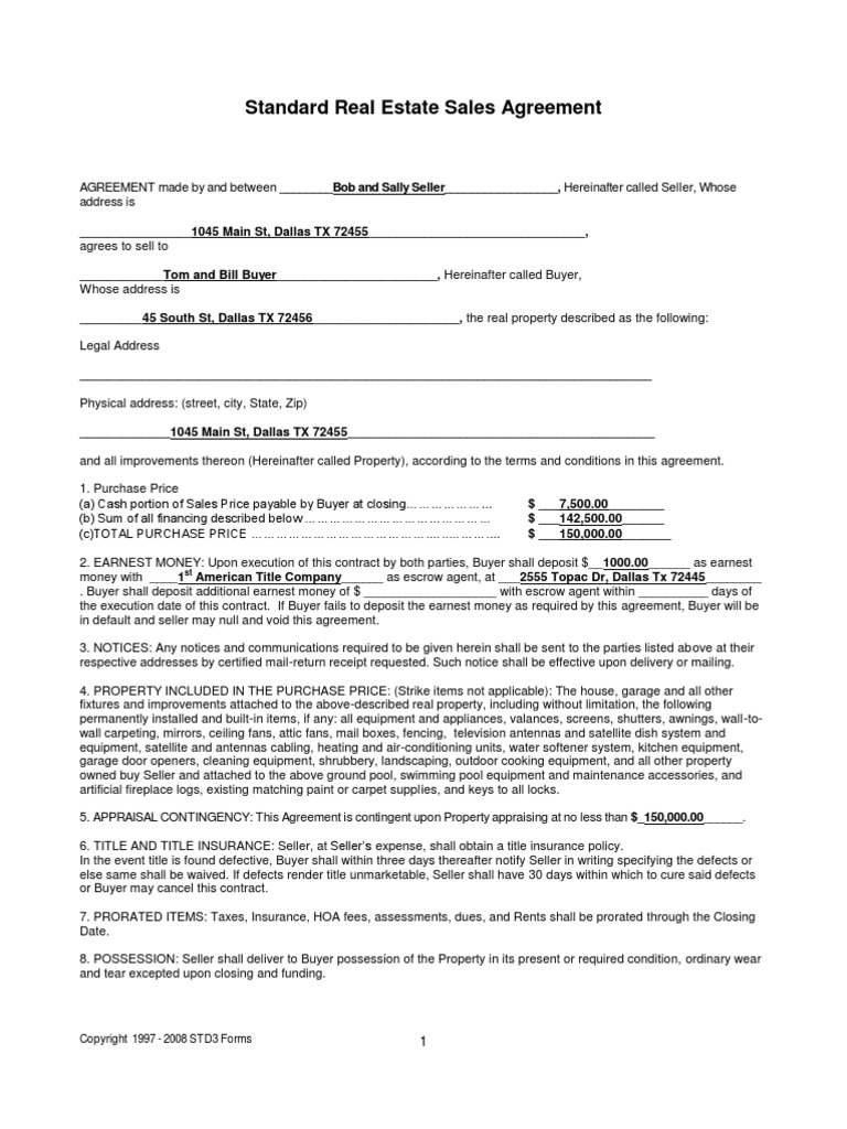 Home Selleru0027s RE Sales Contract Filled In Example (pdf) | Mortgage Law |  Loans