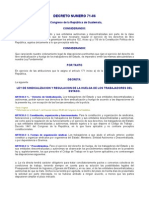 DECRETO NÚMERO 71-86 LEY DE SINDICALIZACION Y REGULACION DE LA HUELGA DE LOS TRABAJADORES DEL ESTADO
