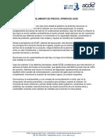 Declaración ACDE. Control de precios. 10.2021