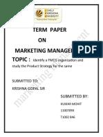 Mohit Market Ting Term Paper