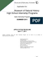 2011 Summer Saltz Application