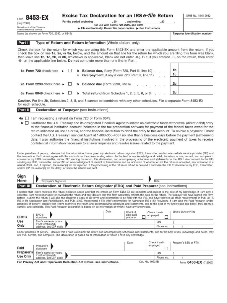 US Internal Revenue Service: f8453ex accessible | Internal Revenue ...