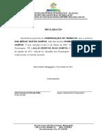 DECLARAÇÃO COMPROVAÇÃO NO TRABALHO YASMIM CRISLANE SANTOS CAMPOS E JULLIO CEZAR DA SILVA CAMPOS