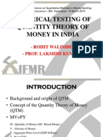Empirical Testing of Quantity Theory of Money in India