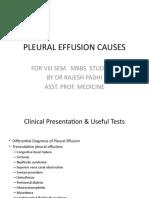 Pleural Diseases - causes of pleural effusions