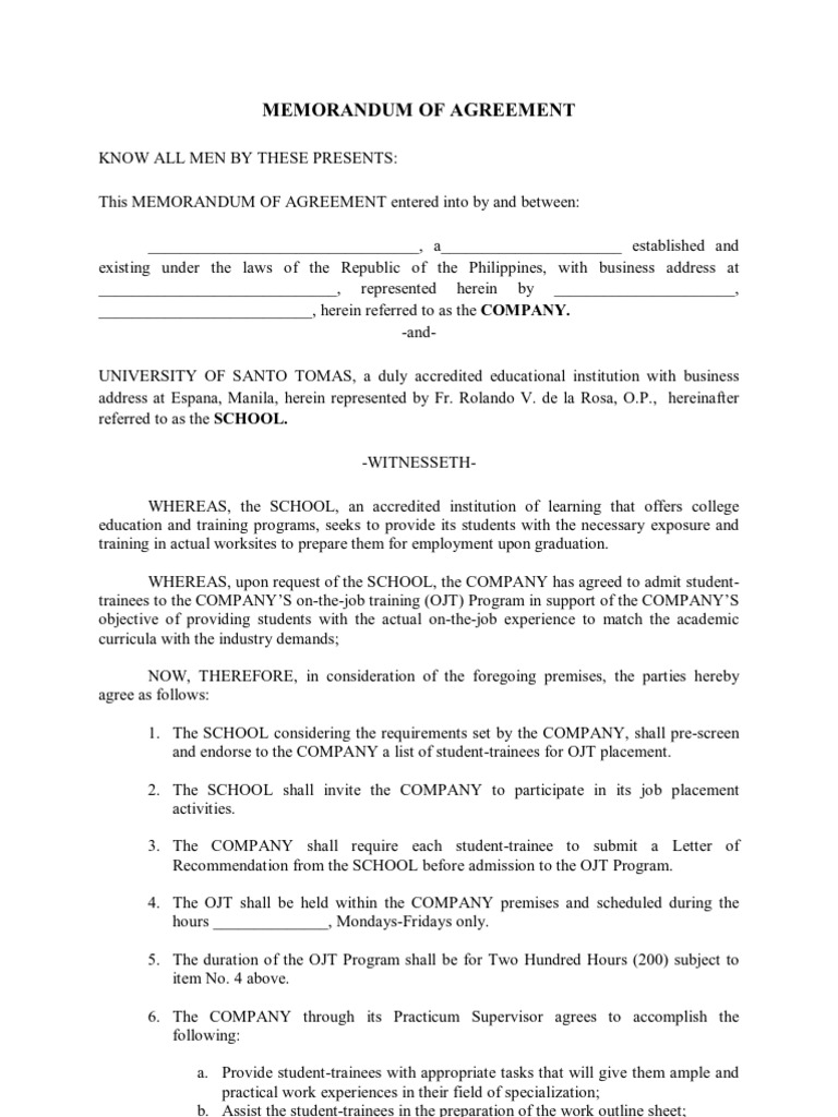 General Moa for Ojt Negligence – Student Agreement Contract