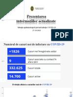 Raportul COVID-19 privind situația epidemiologică la 27 octombrie 2021 (ora 21:00):