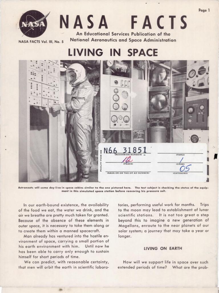 Nasa Facts Living In Space Nasa