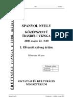 Spanyol nyelv középszintű írásbeli érettségi vizsga, megoldással, 2008 (2008, 52 oldal)