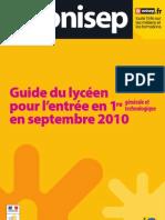 Guide du lycéen pour l'entrée en 1re générale et technologique