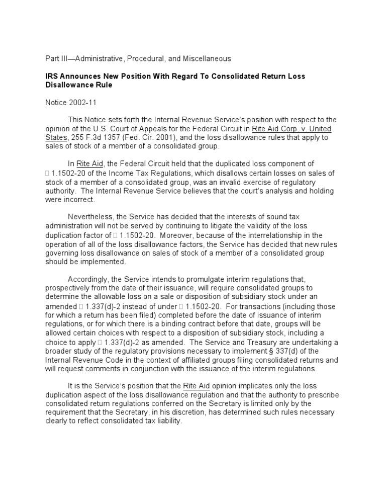 US Internal Revenue Service: n-02-11 | Internal Revenue