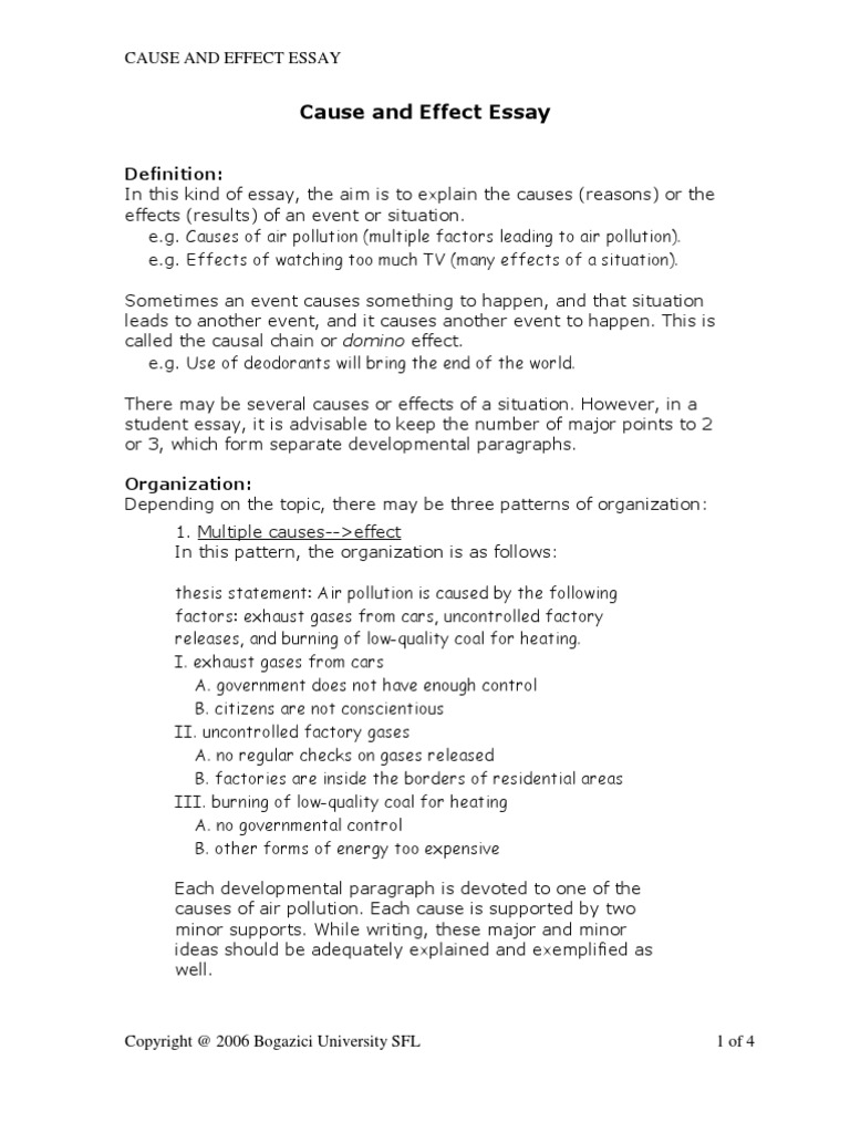 ideas for cause and effect essay