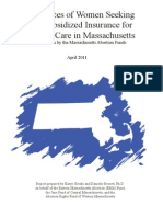 Experiences of Women Seeking State-Subsidized Insurance for Abortion Care in Massachusetts