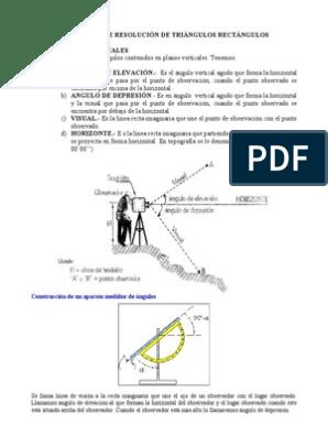 Angulos De Elev Y Depres Triángulo Trigonometría