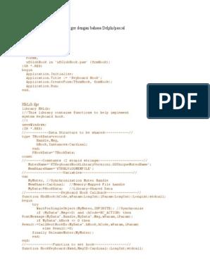 Ini Adalah Source Code Keylogger Dengan Bahasa Delphi