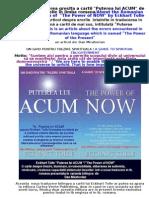 """Despre Puterea Lui ACUM/About  """"The Power of NOW"""""""