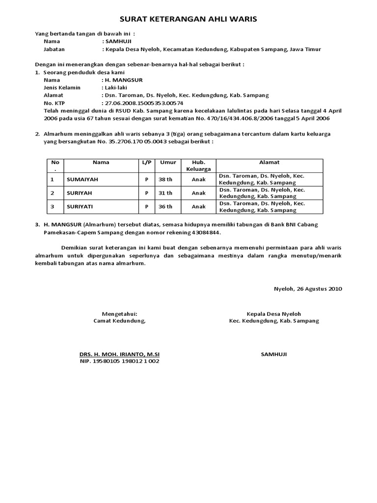 Contoh Surat Ahli Waris Dari Notaris