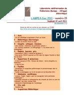 LAMPEA-Doc 2011 - numéro 15 / Vendredi 22 avril 2011