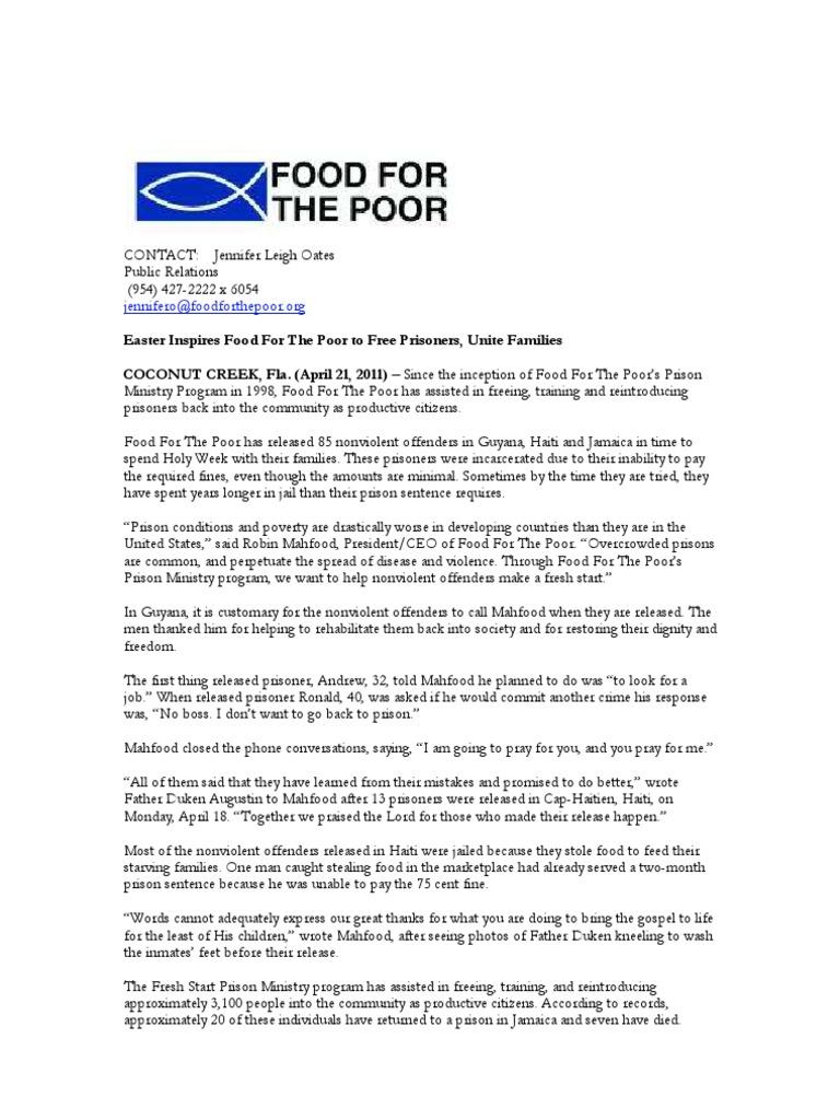 food poor easter prison criminal justice