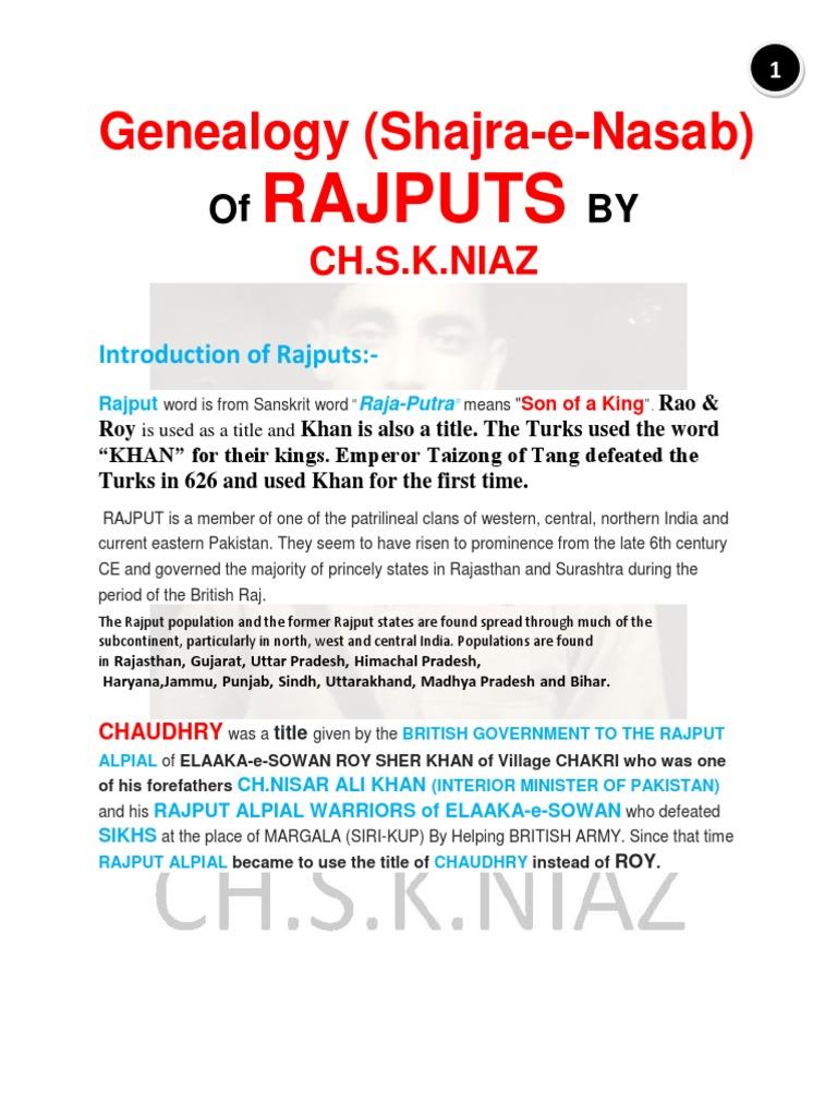 Shajra-E-Nasab (Genealogy) of Rajput Caste by Ch S K NIAZ and CH