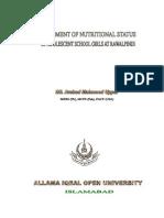 Nutritional Status of Adolescent School Girls