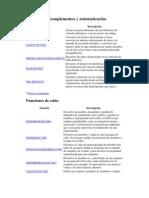 Funciones de complementos y automatización