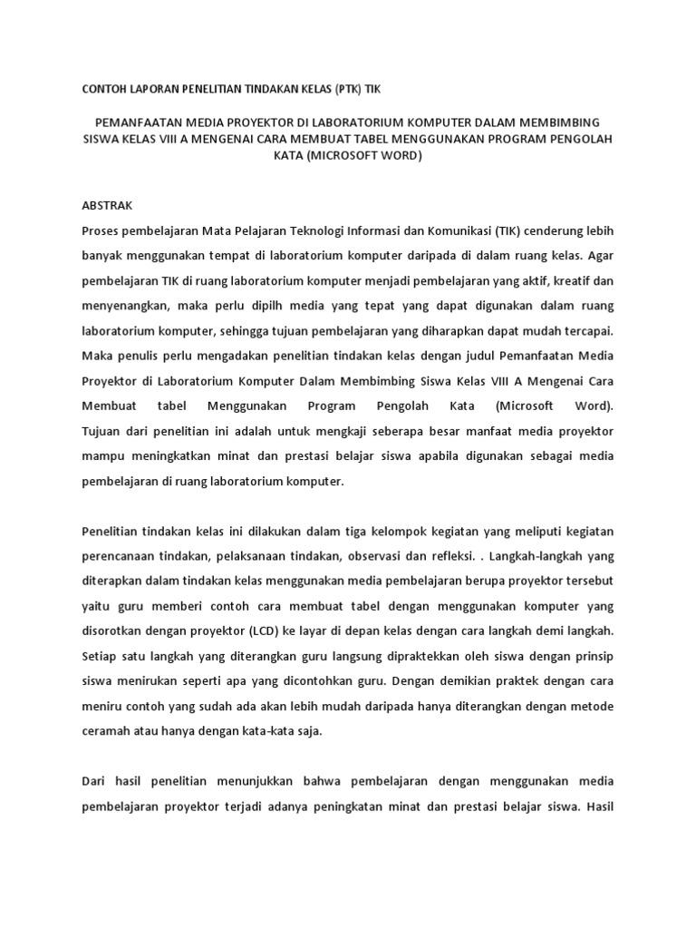 Contoh Laporan Penelitian Tindakan Kelas Mapel Tik