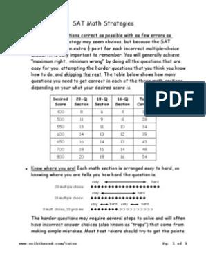 Math Strategies | Multiple Choice | Sat