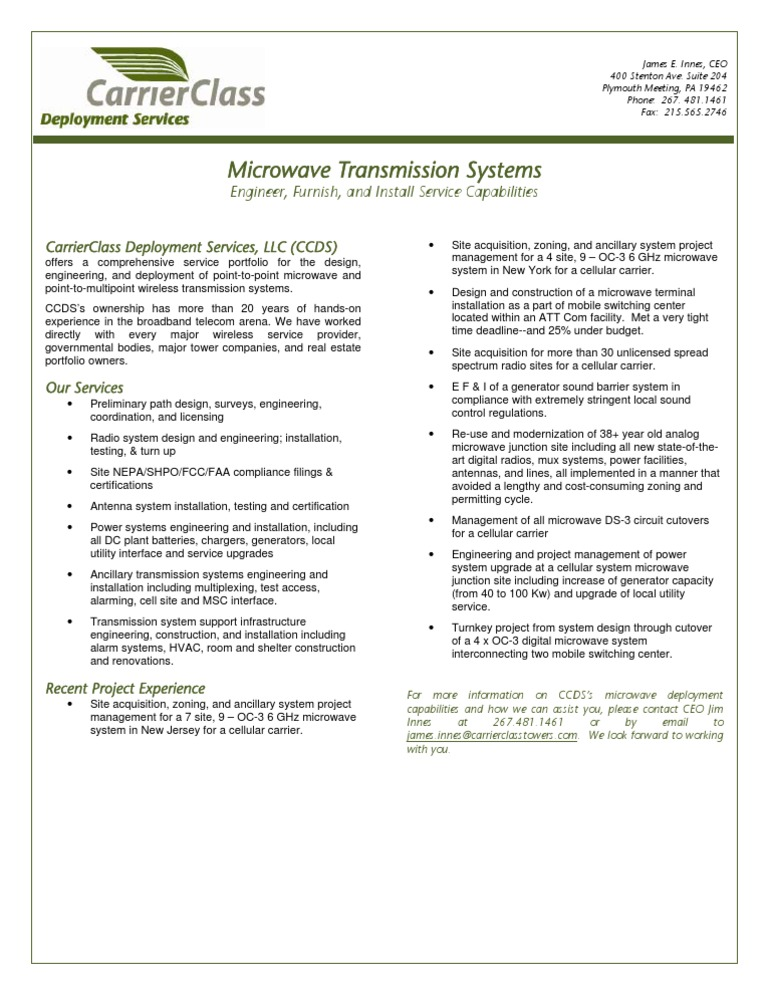 Info - Microwave Transmission Systems | Microwave | Electric Power ...