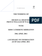 Royal Wedding summary of information for the day