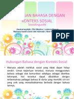 Hubungan Bahasa Dengan Konteks Sosial