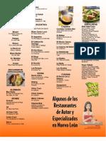 Restaurantes de Autor y Especializados en NL