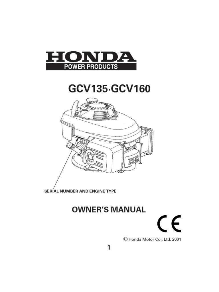 engine manual gcv160 carburetor gasoline rh scribd com Honda Aquatrax Owners Manual PDF Repair Manual Honda Cars