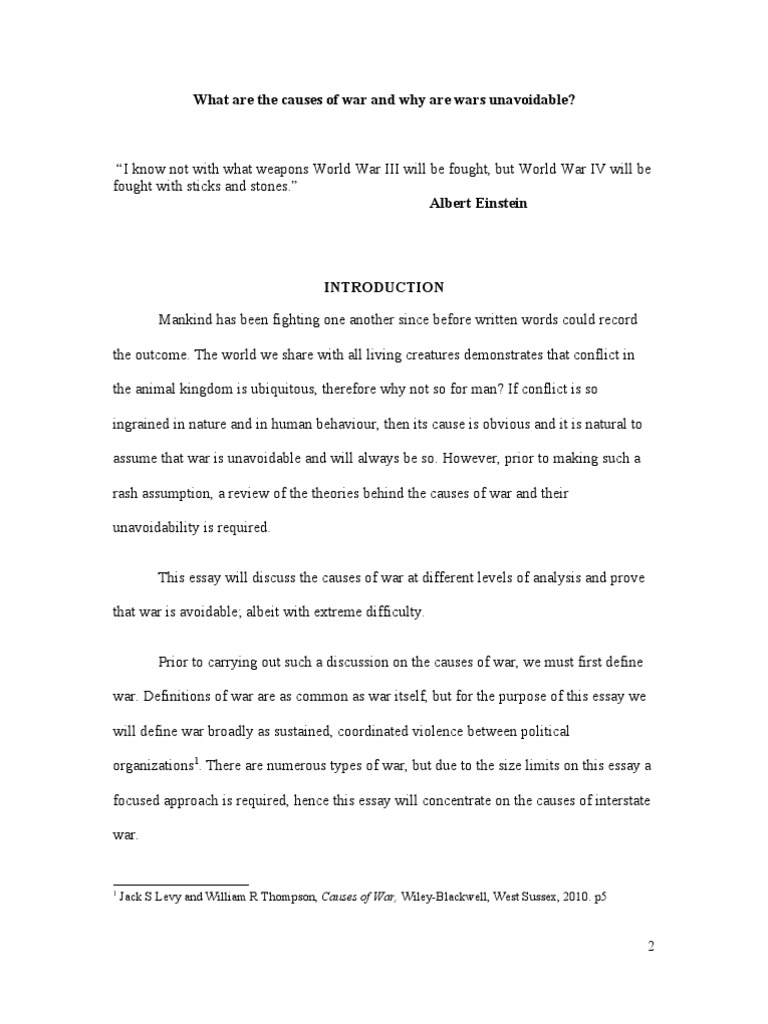 what are the causes of war essay