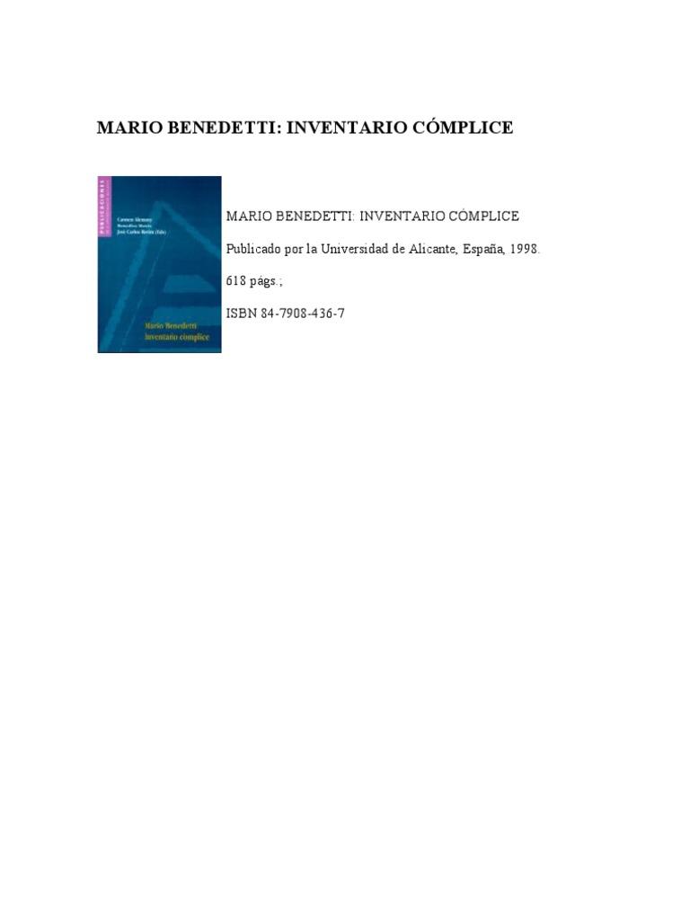 Sobre Benedetti -Inventario cómplice (Congreso sobre Benedetti)
