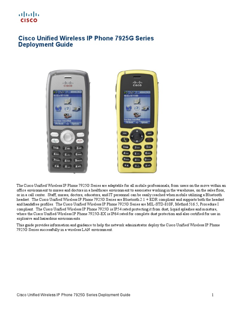 Cisco Unified Wireless IP Phone 7925G Series Deployment Guide   Data