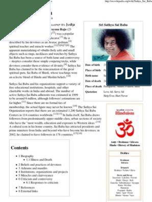 Sathya Sai Baba - Wikipedia, The Free Encyclopedia   Sathya