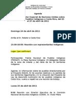 Agenda Relator Especial Derechos Pueblos Indígenas visita a Costa Rica 25 al 27 de abril