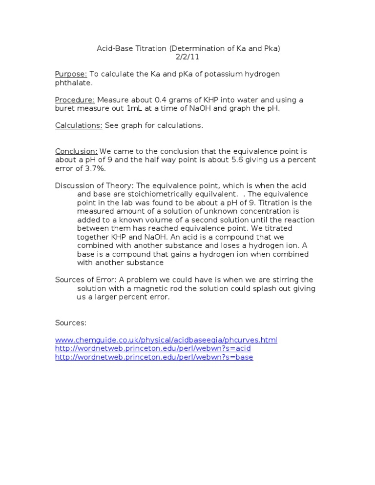 AcidBase Titration Lab – Titrations Practice Worksheet